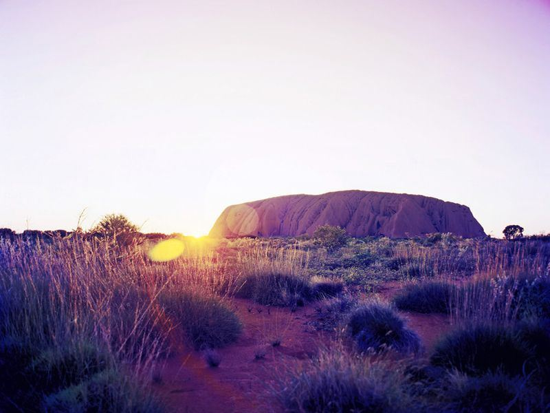 uluru sunset   tourism australia