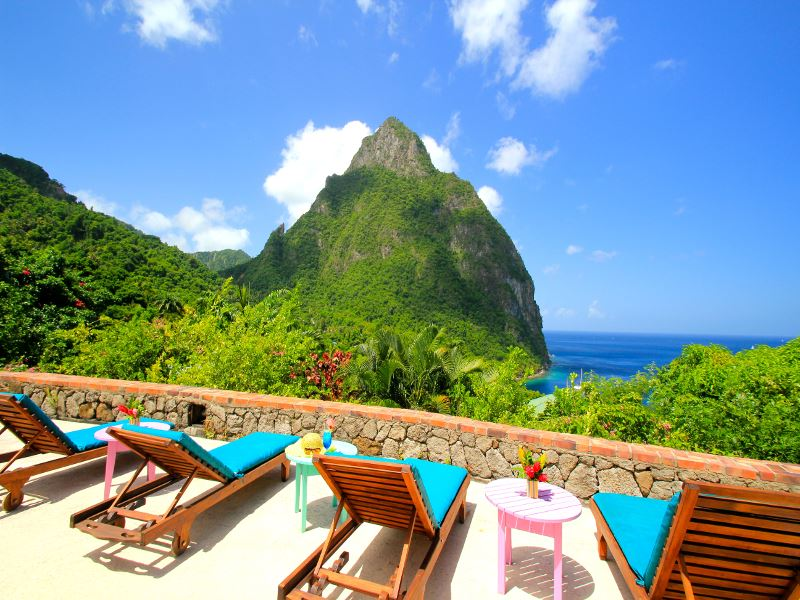 view of the pitons from stonefield estate villa resort