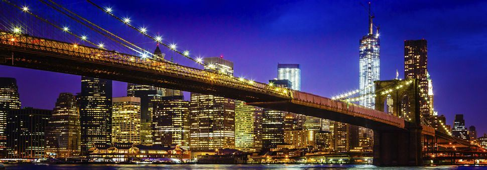 Brooklyn Bridge with view of Downtown Manhattan, New York