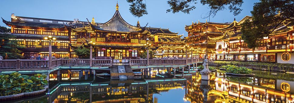 Yu Yuan Gardens at night, Shanghai